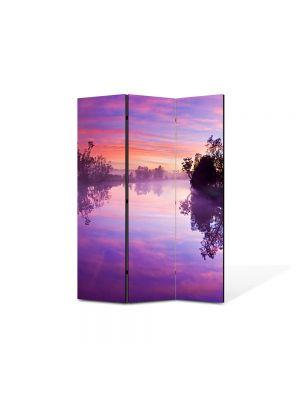 Paravan de Camera ArtDeco din 3 Panouri Peisaj Lacul violet 105 x 150 cm