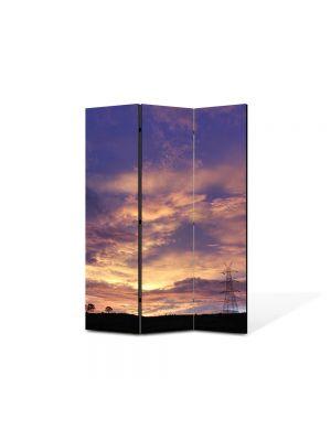 Paravan de Camera ArtDeco din 3 Panouri Peisaj Nori 105 x 150 cm