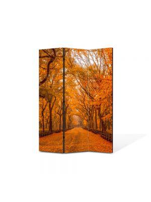 Paravan de Camera ArtDeco din 3 Panouri Peisaj Galben intens 105 x 150 cm