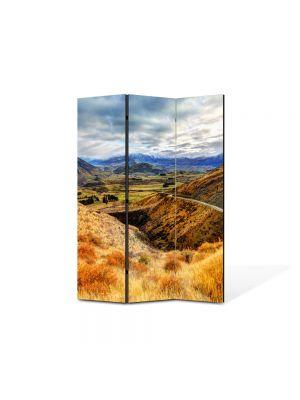 Paravan de Camera ArtDeco din 3 Panouri Peisaj Drum pe munte 105 x 150 cm