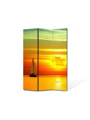 Paravan de Camera ArtDeco din 3 Panouri Peisaj Barca panze 105 x 150 cm