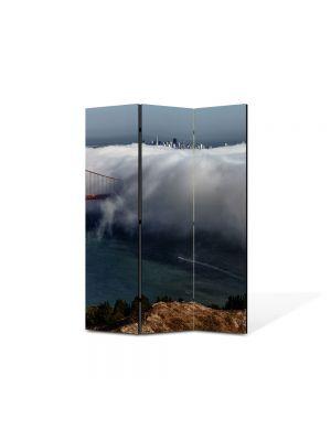 Paravan de Camera ArtDeco din 3 Panouri Peisaj Pod in nori 105 x 150 cm