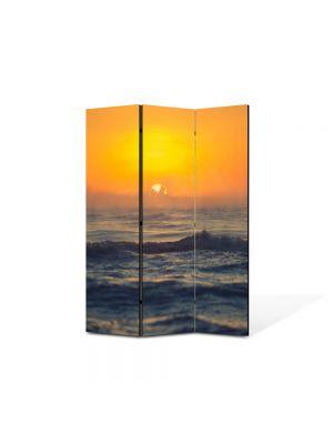Paravan de Camera ArtDeco din 3 Panouri Peisaj Mare agitata la apus 105 x 150 cm