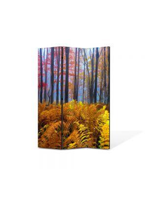 Paravan de Camera ArtDeco din 3 Panouri Peisaj Veriga in padure 105 x 150 cm