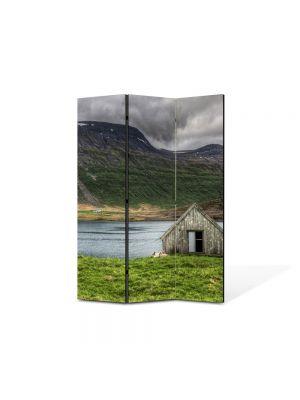 Paravan de Camera ArtDeco din 3 Panouri Peisaj Cabanuta 105 x 150 cm