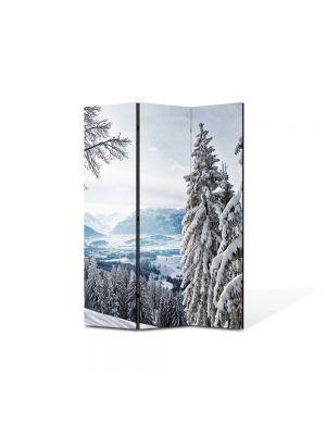 Paravan de Camera ArtDeco din 3 Panouri Peisaj Brazi inzapeziti 105 x 150 cm