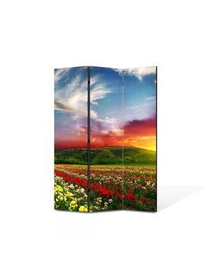 Paravan de Camera ArtDeco din 3 Panouri Peisaj Linie de flori 105 x 150 cm