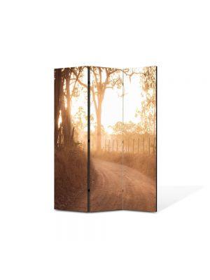 Paravan de Camera ArtDeco din 3 Panouri Peisaj Drum de tara 105 x 150 cm