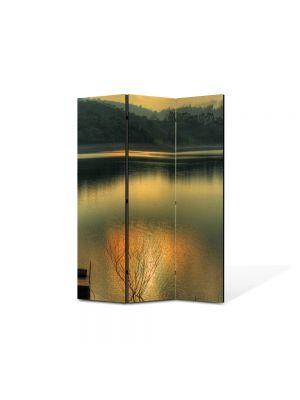 Paravan de Camera ArtDeco din 3 Panouri Peisaj Apusul in lac 105 x 150 cm