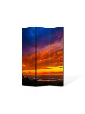Paravan de Camera ArtDeco din 3 Panouri Peisajlori la apus 105 x 150 cm