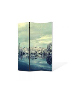 Paravan de Camera ArtDeco din 3 Panouri Peisaj Nuante reci 105 x 150 cm