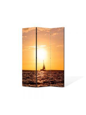 Paravan de Camera ArtDeco din 3 Panouri Peisaj Corabie vele 105 x 150 cm