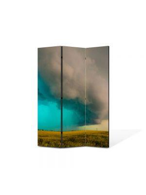 Paravan de Camera ArtDeco din 3 Panouri Peisaj Furtuna 105 x 150 cm