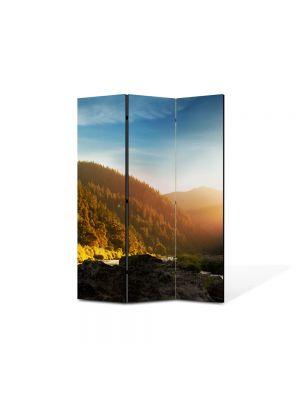 Paravan de Camera ArtDeco din 3 Panouri Peisaj In ceata 105 x 150 cm