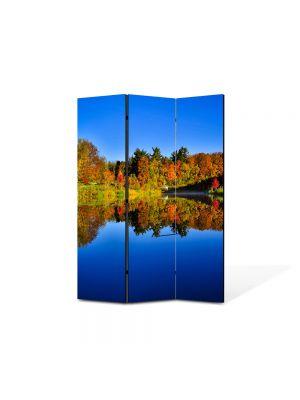 Paravan de Camera ArtDeco din 3 Panouri Peisaj Albastru inchis al lacului 105 x 150 cm