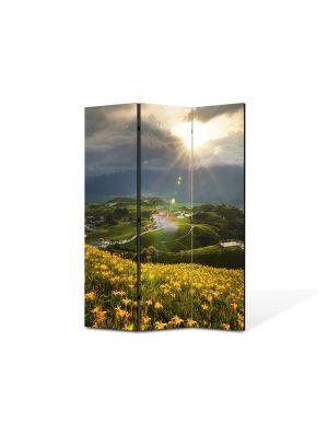 Paravan de Camera ArtDeco din 3 Panouri Peisaj Floricele pe campii 105 x 150 cm