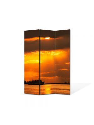 Paravan de Camera ArtDeco din 3 Panouri Peisaj Vapoare 105 x 150 cm