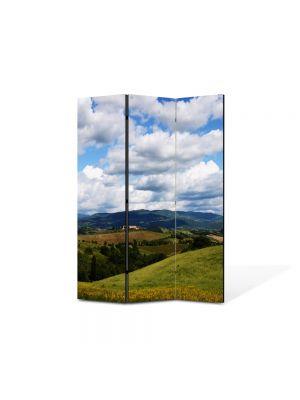 Paravan de Camera ArtDeco din 3 Panouri Peisaj Viata la tara 105 x 150 cm