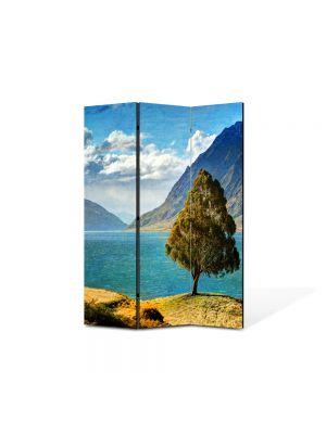Paravan de Camera ArtDeco din 3 Panouri Peisaj Copacel pe stanca 105 x 150 cm