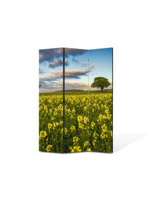 Paravan de Camera ArtDeco din 3 Panouri Peisaj Flori si copaci 105 x 150 cm