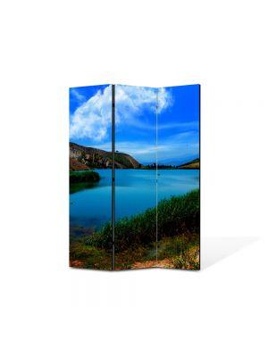 Paravan de Camera ArtDeco din 3 Panouri Peisaj Lac cristalin 105 x 150 cm
