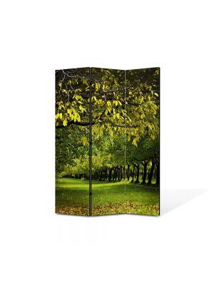 Paravan de Camera ArtDeco din 3 Panouri Peisaj Copaci verzi 105 x 150 cm
