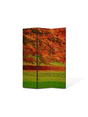 Paravan de Camera ArtDeco din 3 Panouri Peisaj Copac in campie 105 x 150 cm