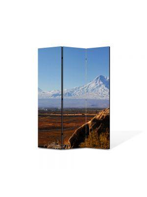 Paravan de Camera ArtDeco din 3 Panouri Peisaj Munti in departare 105 x 150 cm