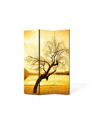 Paravan de Camera ArtDeco din 3 Panouri Peisaj galbui 105 x 150 cm