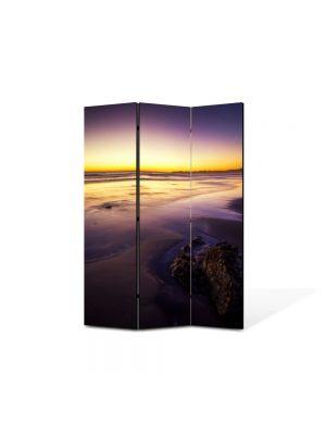 Paravan de Camera ArtDeco din 3 Panouri Peisaj Apus galben 105 x 150 cm