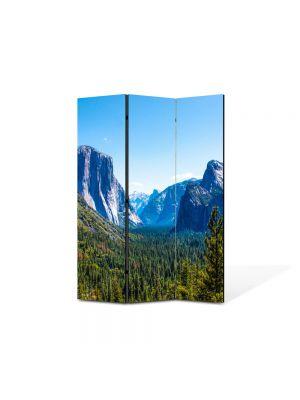 Paravan de Camera ArtDeco din 3 Panouri Peisaj Valea dintre munti 105 x 150 cm