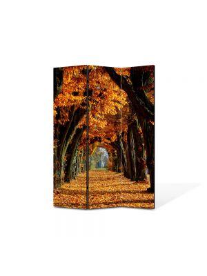 Paravan de Camera ArtDeco din 3 Panouri Peisaj Tunel de toamna 105 x 150 cm