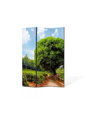 Paravan de Camera ArtDeco din 3 Panouri Peisaj Coroana perfecta 105 x 150 cm