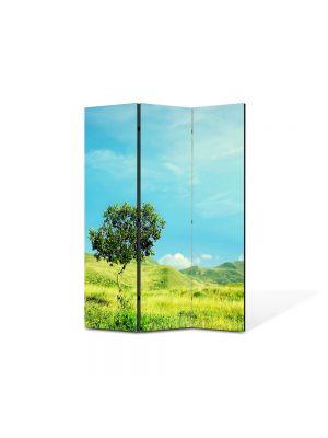 Paravan de Camera ArtDeco din 3 Panouri Peisaj Totul este verde 105 x 150 cm