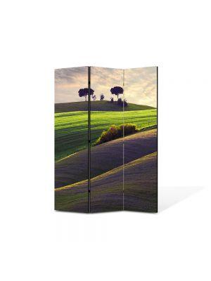 Paravan de Camera ArtDeco din 3 Panouri Peisaj Campiute 105 x 150 cm