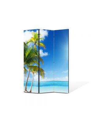 Paravan de Camera ArtDeco din 3 Panouri Peisaj Palmieri 105 x 150 cm