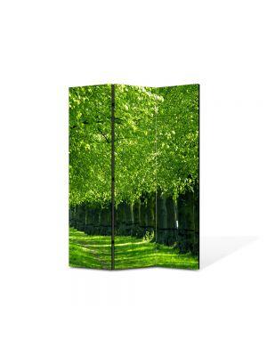 Paravan de Camera ArtDeco din 3 Panouri Peisaj Verde intens 105 x 150 cm