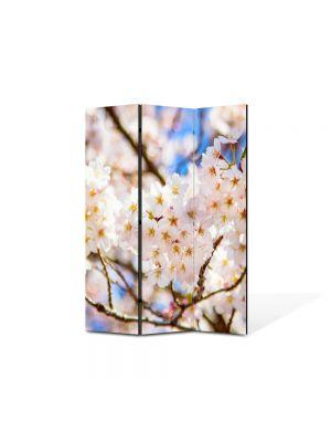 Paravan de Camera ArtDeco din 3 Panouri Peisaj Crengute flori 105 x 150 cm