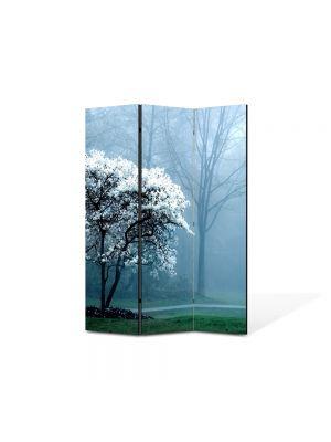 Paravan de Camera ArtDeco din 3 Panouri Peisaj copac alb 105 x 150 cm