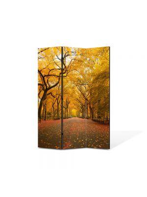 Paravan de Camera ArtDeco din 3 Panouri Peisaj Sosea infrunzita 105 x 150 cm
