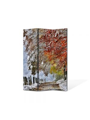 Paravan de Camera ArtDeco din 3 Panouri Peisaj A venit iarna 105 x 150 cm