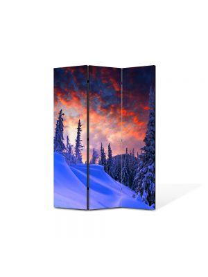 Paravan de Camera ArtDeco din 3 Panouri Peisaj Rosu cerului 105 x 150 cm