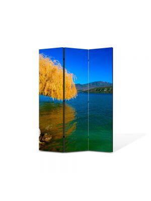Paravan de Camera ArtDeco din 3 Panouri Peisaj Salcie de toamna 105 x 150 cm
