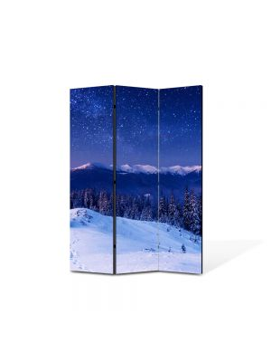Paravan de Camera ArtDeco din 3 Panouri Peisaj Peste lume 105 x 150 cm