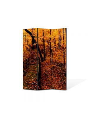 Paravan de Camera ArtDeco din 3 Panouri Peisaj Ruginiu 105 x 150 cm