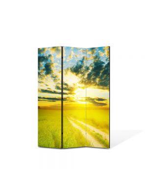 Paravan de Camera ArtDeco din 3 Panouri Peisaj Apus peste drum 105 x 150 cm