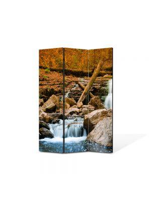 Paravan de Camera ArtDeco din 3 Panouri Peisaj Cascada lina 105 x 150 cm