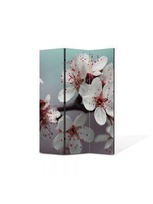 Paravan de Camera ArtDeco din 3 Panouri Peisaj Flori albe 105 x 150 cm
