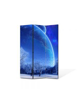 Paravan de Camera ArtDeco din 3 Panouri Peisaj Planete fantastice 105 x 150 cm