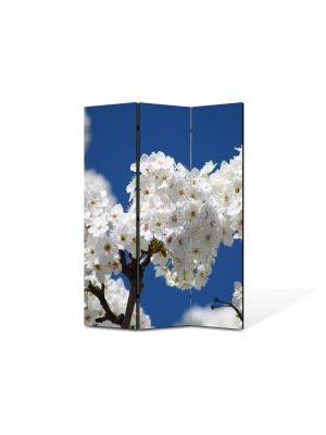 Paravan de Camera ArtDeco din 3 Panouri Peisaj Buchete de flori albe 105 x 150 cm